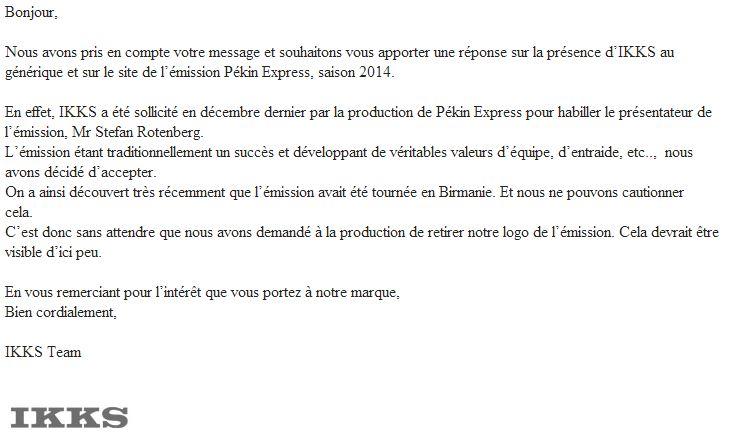 Réponse IKKS à Katibin.fr