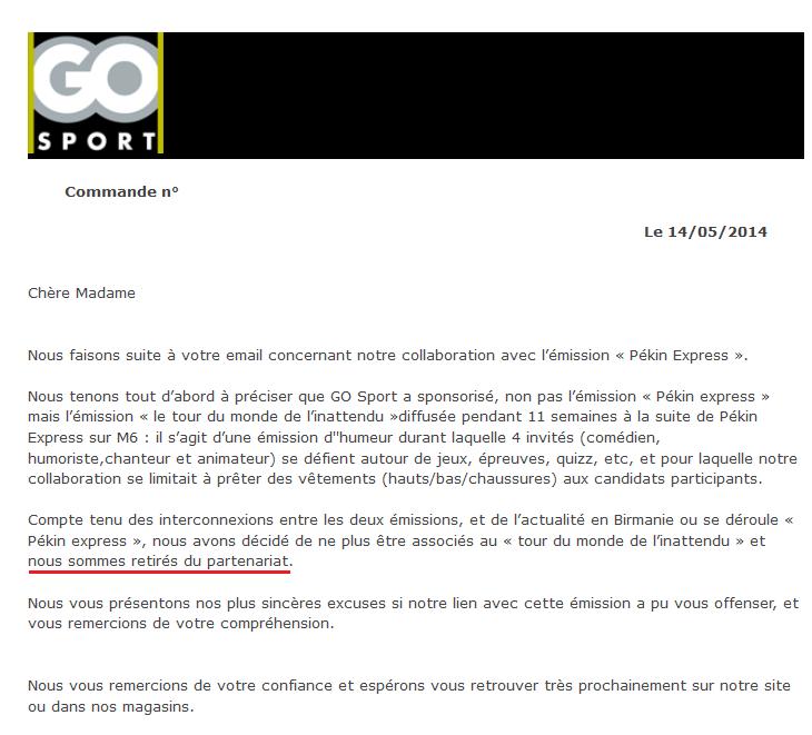 réponse GO Sport