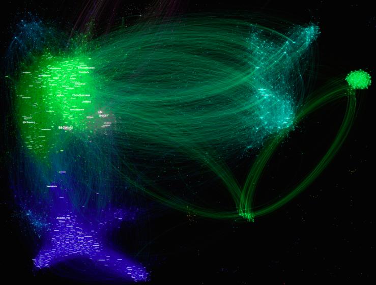Les lignes indiquent des interactions, et les amas de points lumineux signalent un haut degré de connectivité.