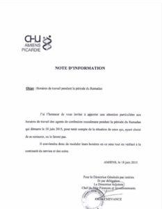 CHU Amiens Picardie ramadan
