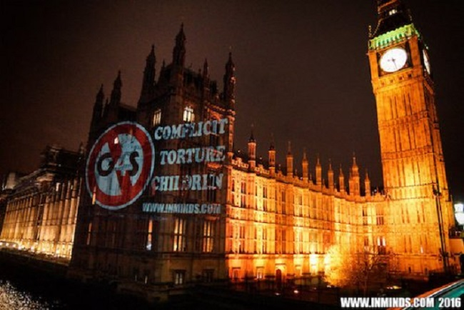 Londres : la torture des enfants palestiniens projetée sur le Palais du gouvernement !