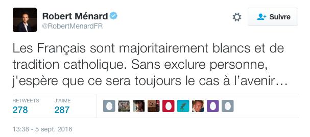 Pour Robert Ménard « être français, c'est aussi être européen, blanc et catholique »