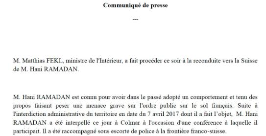 La France ne veut pas de Hani Ramadan - Katibîn.fr
