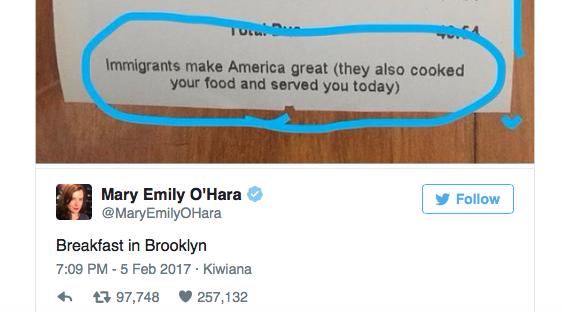 Un restaurant américain écrit sur ses factures les immigrés rendent le pays formidable
